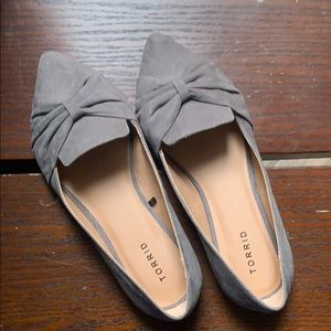 Torrid Grey Faux Suede Pointed Toe Bow Flats